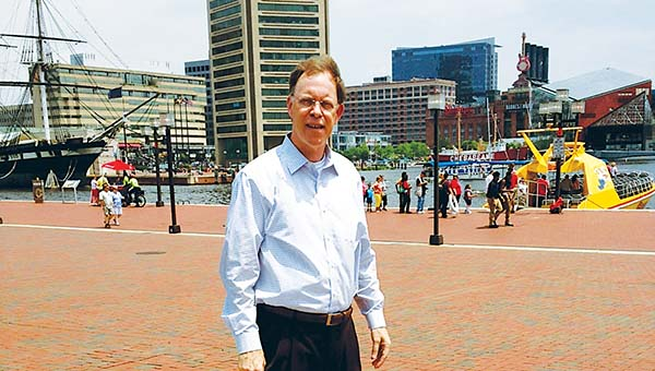 PHOTO SUBMITTED / The Rev. Greg Warnock is seen at Inner Harbor, Baltimore, while on his trip to the Southern Baptist Convention.