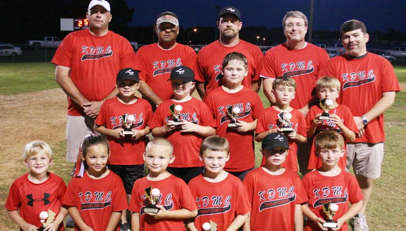 DAILY LEADER / MARTY ALBRIGHT / KDMC Therapy Center captured the Lincoln County Dixie Boys Baseball League regular-season title in Coach Pitch action at Keystone Park. Members of the team are (from left, front row) Eli Thornton, Anna Claire Pucklitsch, Mitch Pucklitsch, Pierce Whittington, Taylor Myers, Kayne Case; (Middle row) Brandon Burt, Conner Cunningham, Zachery Hirsh, Caden Yarborough, Aiken Allen; (back row) coaches: Darrin Hirsch, Kent Allen, Chris Case, Chad Yarborough and Tim Cunningham.