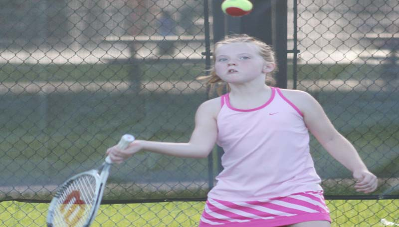 DAILY LEADER / MARTY ALBRIGHT / Abbi Burgess works on return during a junior tennis drill at the Brookhaven City Courts.