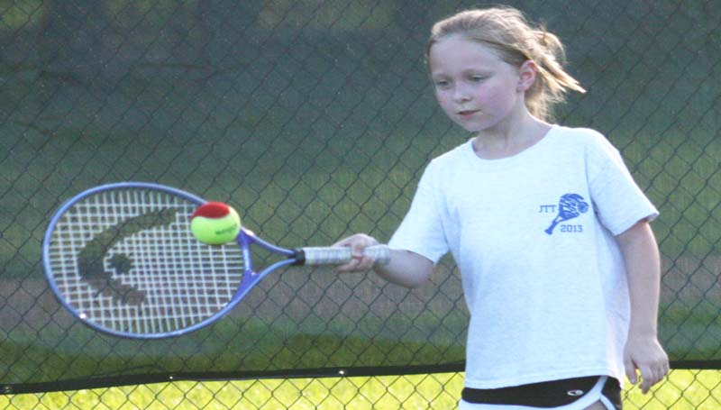 DAILY LEADER / MARTY ALBRIGHT / Anna Leigh Hayes works on her forehand during a junior tennis drill at the Brookhaven City Courts.