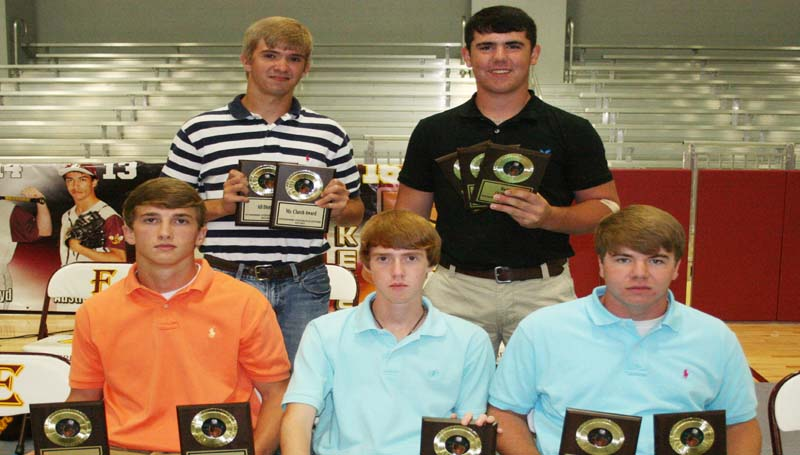 DAILY LEADER / MARTY ALBRIGHT / The Enterprise Baseball was honored during the school's athletic banquet. Players receiving awards were (seated, from left) Jackson Cole, All-District, Pitching Award; Connor Smith, Most Improved; Max Miller, Best Defensive Player; (Standing) Josh Hardin, Mr. Clutch Award, All-District; Hunter Richardson, Rookie Award, All-District.