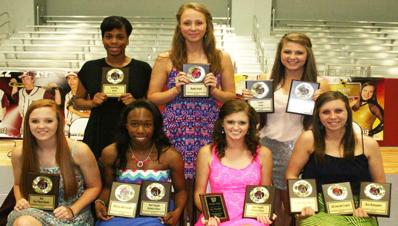 DAILY LEADER / MARTY ALBRIGHT / The Enterprise girls' basketball team was honored during the school's athletic banquet. Players receiving awards were (seated, from left) Markie Case, Free Throw Percentage Award; Alissa Barlow, Most Valuable Defensive Player, All-Lincoln; Kristin Jergins, Most Valuable Offensive Player, All-District; Megan Rippy, Rebounding Award, Leadership Award, All-Lincoln; (Standing) Adrienne Byrd, Sixth Man Award; Hannah Kirtfield, Hustle Award; Courtney Greer, Most Improved, Coaches Award.