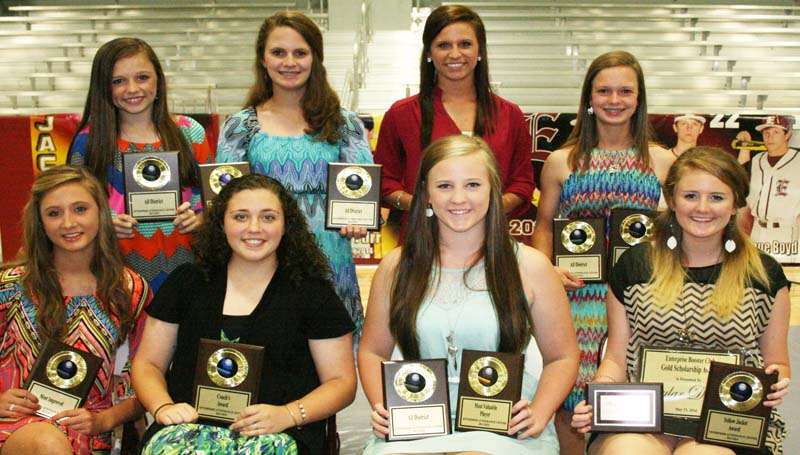 DAILY LEADER / MARTY ALBRIGHT / The Enterprise softball team was honored during the school's athletic banquet. Players receiving awards were (seated, from left) Kaylyn Chemin, Most Improved; Hannah Rutland, Coaches Award; Kinsey Dahlin, All-District, Most Valuable Player; Skylar Dahlin, Yellow Jacket Award; (standing) Haley Nations, All-District; Jana Nations, Offensive Award, All-District; Ashley Boyd, Hustle Award; Carlee Nations, Defensive Award, All-District.