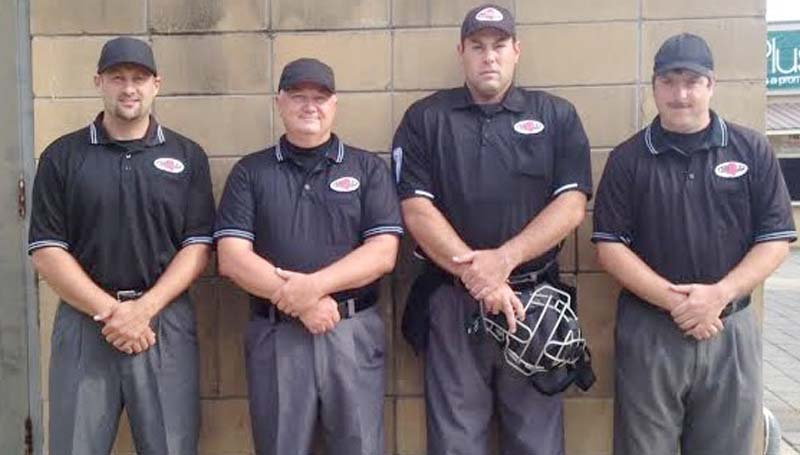 DAILY LEADER / Photo Submitted / OFFICIATING THE GAME - Local officials (from left) Jonathan Breakfield, Tony Davis, Jaymie Palmer, and Grant Williamson had the honor of calling the MAC All-Star baseball game last month.