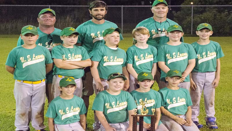 DAILY LEADER / KATIE WILLIAMSON / TOURNAMENT RUNNERS-UP - U.S. Lawns finished in second place in Lincoln County Dixie Boys AAA Baseball City League tournament. Members of the squad are (from left, front row) Carter Holcomb, Brant Day, Blake Thornton, Conner Case; (middle) Braden Busby, Brady Ratcliff, Dawson Hester, Sam Arnold, Corby Husser, Jake Thompson; (standing) Coaches: Chris Thornton, Sammy Holcomb, Tim Ratcliff.