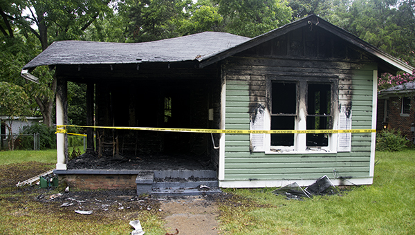 DAILY LEADER / KATIE WILLIAMSON /  The house at 523 Curran Ave. remains completely charred after the house fire early Friday morning that sent the resident to the hospital.