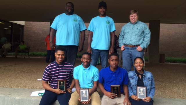 PHOTOS SUBMITTED / 2014 State 4-H Congress first place livestock bowl team (front row, from left) Zachary Wilson, Keante Benjamin, Joshua McNairy, Savon Smith; (back row) Tedric Thompson (assistant coach), Jerry Rice (coach) and Brandon Alberson (agent).