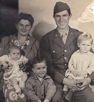 PHOTO SUBMITTED / Hazel Calcote (back left) is shown in this picture taken about the time she lost her Loyd Star class ring in 1944. With her is her husband, Lee Russell Calcote,  and their children, (front from left) Elrea, Vic and Liz.