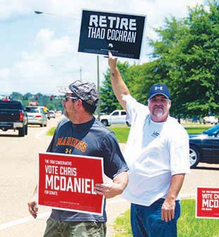 Meanwhile, Jeff Canton and Dustin Cothern from McComb, campaign for Cochran's opponent, Republican state Sen. Chris McDaniel, on Highway 51 in front of the restaurant. The two veterans smiled and wave to passing cars while holding their candidate's campaign signs. They were two of many McDaniel supporters actively campaigning outside in Brookhaven on Tuesday.