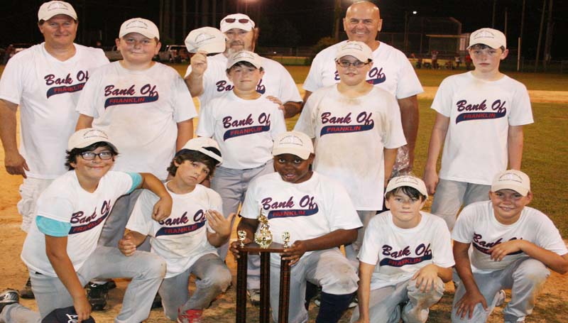 DAILY LEADER / MARTY ALBRIGHT / MAJORS CHAMPION - Bank of Franklin was crowned tournament champion in the Lincoln County Dixie Boys Majors Baseball City League tournament. Members of the squad are (front row, from left) Bishop Kennedy, Jacob Smith, Ty Webb, Sam Etheridge, Trevor Smith; (middle row) Peyton Morse, Lawson Smith, Nicholas West, Karlton Byrd; (back row) assistant coaches Terry Britt, Bobby Covington and head coach Darrell Morse. Not pictured: Wyatt Burns.