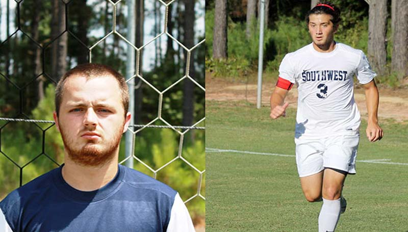 SOUTHWEST MEDIA / Photo Submitted / Southwest men's soccer players Dalton Cooper (left) and Jackson Wall were named MACJC Academic All-State recently. Also, Wall was given the NJCAA Award for Exemplary Academic Achievement, which is given to student-athletes with a GPA of 3.6-3.79. In addition, the men's team was named one of the MACJC's Academic Teams of the Year.