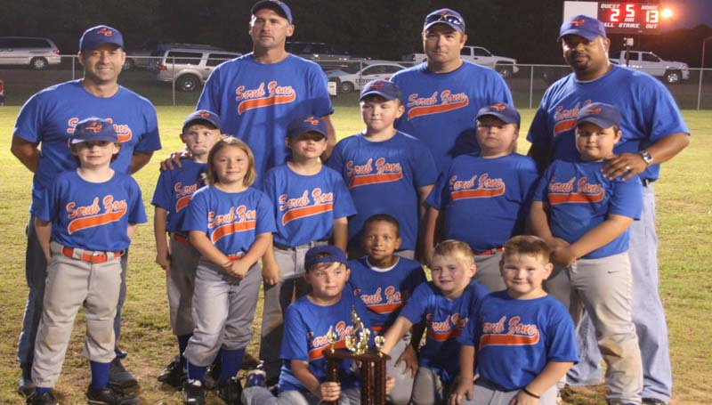 DAILY LEADER / MARTY ALBRIGHT / SECOND PLACE FINISH - Scrub Zone finished second in the Lincoln County Dixie Boys AA Coach-Pitch City tournament. Members of the team are (from left, front row) Carson Keene, Ian Gatlin, Austin Tanksley, Knox Leggett; (middle row) Jackson Bridges, Caden White, Sara Kate Bonds, Wyatt East, Gage Chisholm, Bailey Reid, Marshall Hart; (back row) Assistant Coach Adam Tanksley, Assistant Coach Scotty White, Head coach Chris Reid and Assistant Coach Damian Gatlin. Not Pictured: Ashland Watts.