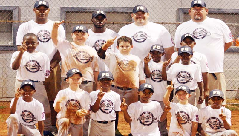 DAILY LEADER / MARTY ALBRIGHT / ALL-STARS CHAMPS - The Franklin County seven and eight-year-old All-Stars won the championship in the Dixie Boys AA Coach-Pitch North Sub-District Six baseball tournament in Bude recently. Members of the team are (from left, first row) Jaiden Hunt, Dakota Chisholm, Jailen Hunt, Landon Furlow, Terrance Fields; (second row) Larry Pernell. Noah McCormick, Hayden Zimmerman, Donavon Brown, Jamie Green, Cadarrius; (back row) Assistant Coach Josh Matthews, Head Coach James King, Assistant Coach Keith Zimmerman and Assistant Coach John Jackson. Franklin County's AA All-Stars made a great in the Dixie Youth Coach Pitch State Tournament as they placed fifth in competition.