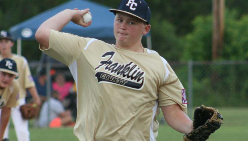 DAILY LEADER / MARTY ALBRIGHT / Franklin County's Garrett Smith provides a dominating performance on the mound for his team in game one Thursday night.