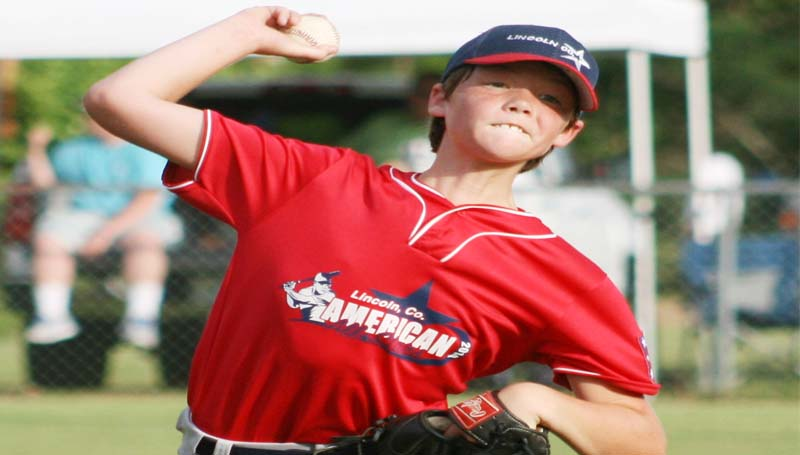 DAILY LEADER / MARTY ALBRIGHT / Lincoln County's Trey Fortenberry dominated the pitcher mound in Monday's victory over Moss Point in Dixie Youth Majors State Tournament action at Dean Griner Dixie Youth complex in Columbia.