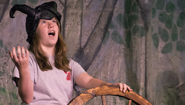 DAILY LEADER / KATIE WILLIAMSON / Jenna Segura, 12 practices Wednesday as the evil witch, Morgana for the BLT children's production.