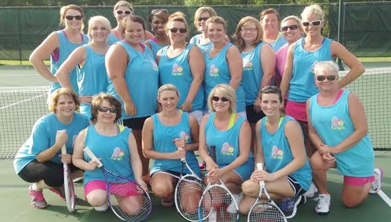 """DAILY LEADER / Photo Submitted / TENNIS PROGRAM - Participants in the 2014 Ferguson's Instant Hot Shots tennis program are (first row from left) Jannell Weekly, Amanda Russell, Amanda Hodges, Kay Delizior, Charla Coley, Local League Coordinator Leanne Summers; (second row) Sarah Treadway, Blaine Myers, Kate Smith, LeAnne Barfoot , Danette Brown, Beth Smith-helper, Instant Tennis instructor Tiffani Ferguson; (back row) Mikki Crawford, Ashley Smith, Shelia Williams, Stacie McCullough, Heather Britt-helper. Not pictured are Dana Boyte, Annie Allen, Summer Langley, Heather Seago, Zetonnia Sterling, Tracey Howell, Stephanie Case, Lacey Levy and Leah Smith. Coach Tiffani Ferguson said she is strongly pushing for a grant to help tennis in the local community. She introduced a 12-week program, in which the first six weeks covers the beginner basics of tennis with weekly drills and lessons. In the next six weeks, players practice in matches at the Brookhaven City Courts. Twenty-four players have gone on to join the USTA after helping start the program. """"I am looking forward in watching these ladies grow and join the upcoming tennis teams,"""" said Ferguson."""" I have already formed three teams for the upcoming combo tennis season. """"It has a great experience for me as well as for them, continued Ferguson. """"It is really nice to see these hard working career moms take an hour out of their hectic schedules and enjoy themselves. We have come a long way! I look forward to trying to get the grant again for our community."""""""