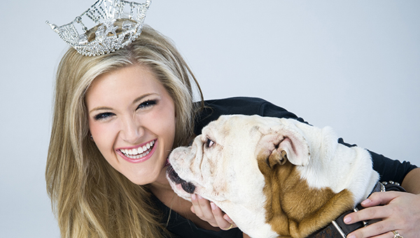PHOTO SUBMITTED / Laura Lee Lewis has a photo shoot with Champ, the biggest celebrity on campus, while serving as Miss Mississippi State University.